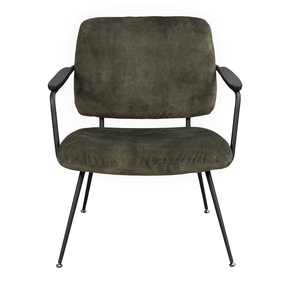 Lounge Sessel in Dunkelgrün und Schwarz Vierfußgestell aus Metall