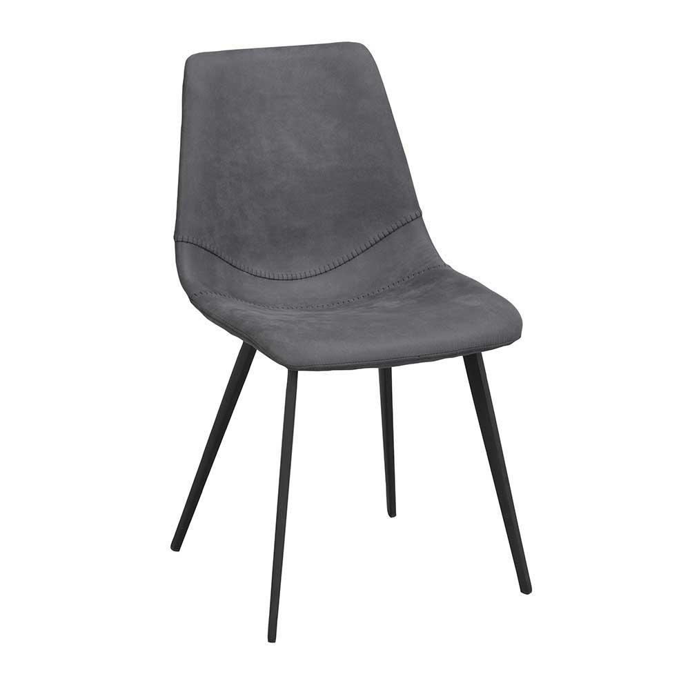 Esstisch Stühle in Grau Microfaser Gestell aus Metall (2er Set)