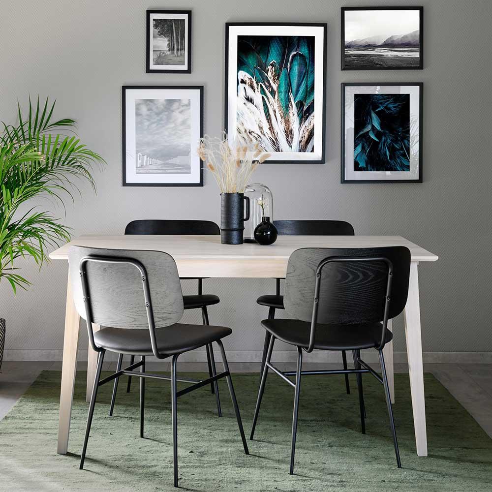 Essgruppe in Holz White Wash und Schwarz vier Stühle (fünfteilig)
