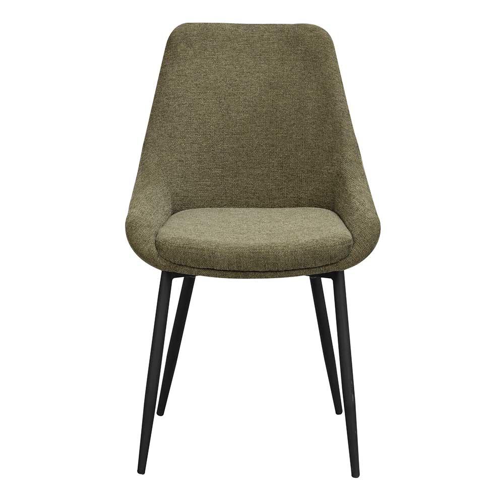 Esstisch Stühle mit Gestell aus Metall schwarz modernem Design (2er Set)