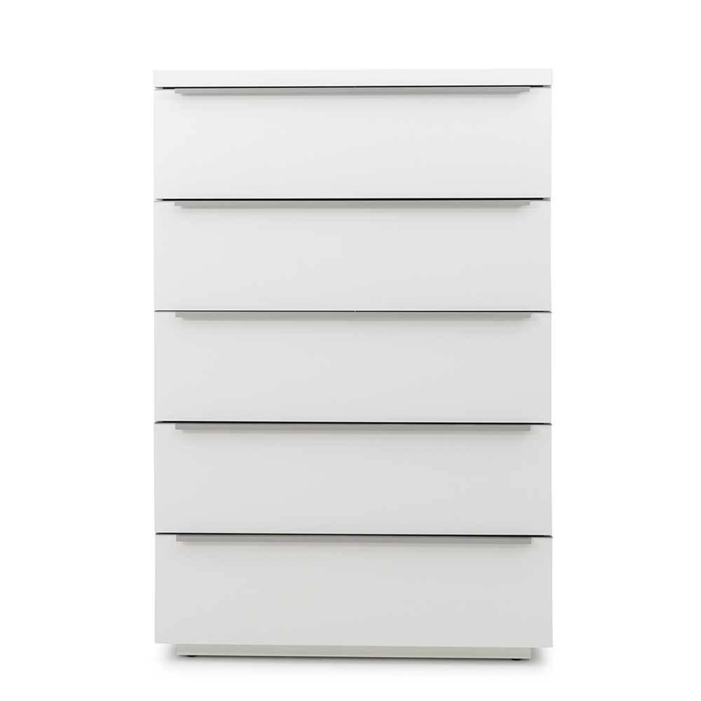 Weiße Kommode mit fünf Schubladen 120 cm hoch