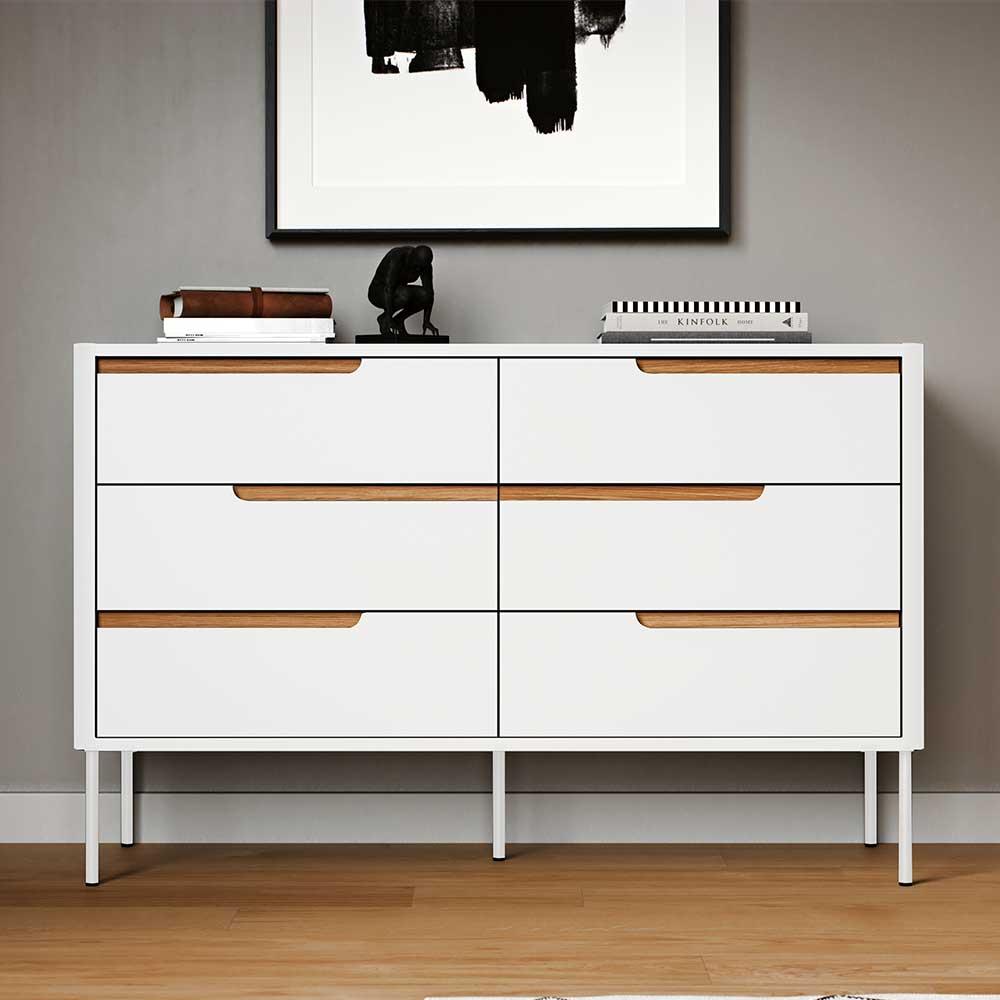 Sideboard in Weiß und Eichefarben Skandi Design