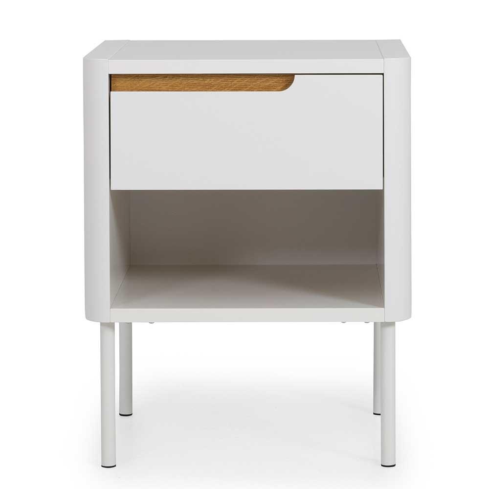 Nachttisch Schrank in Weiß und Eichefarben 45 cm breit