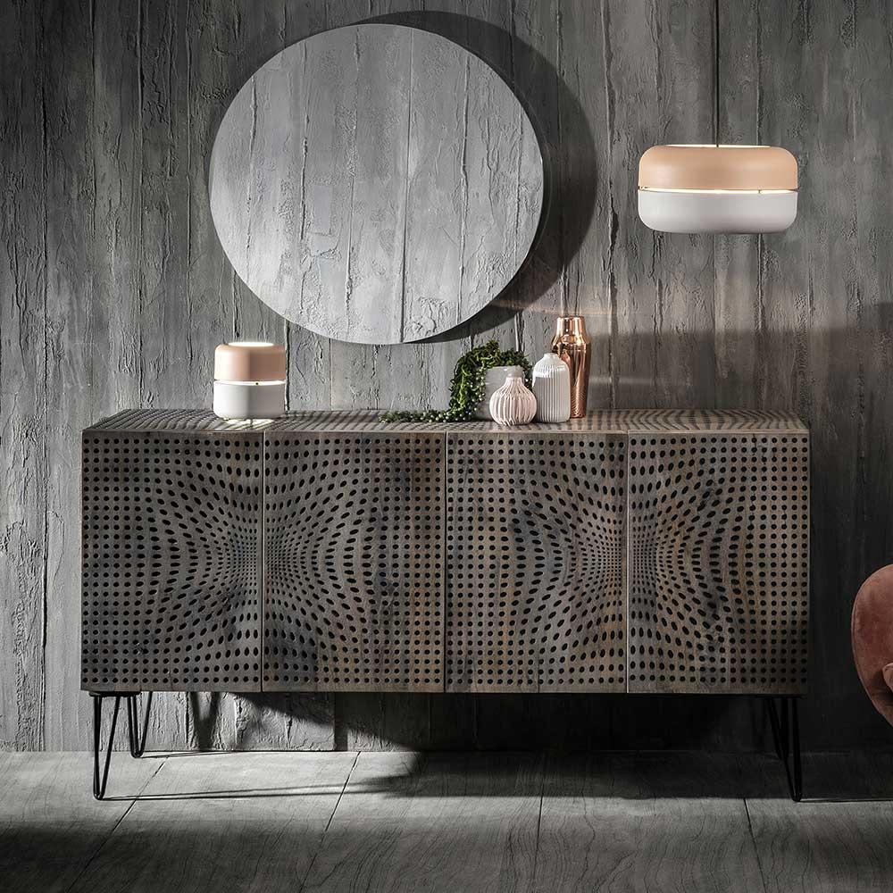 3 türige Esszimmer Kommode in Holz Grey Wash 160 cm breit