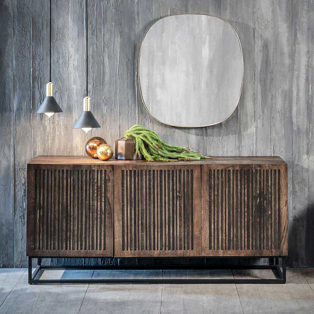 Sideboard aus Mangobaum Massivholz und Metall 160 cm breit