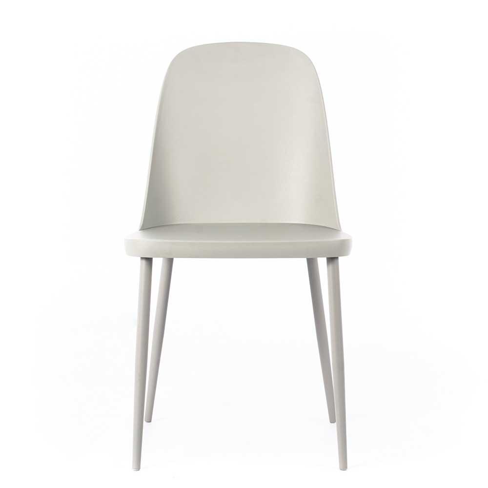 Moderne Esstisch Stühle aus Kunststoff Hellgrau (4er Set)