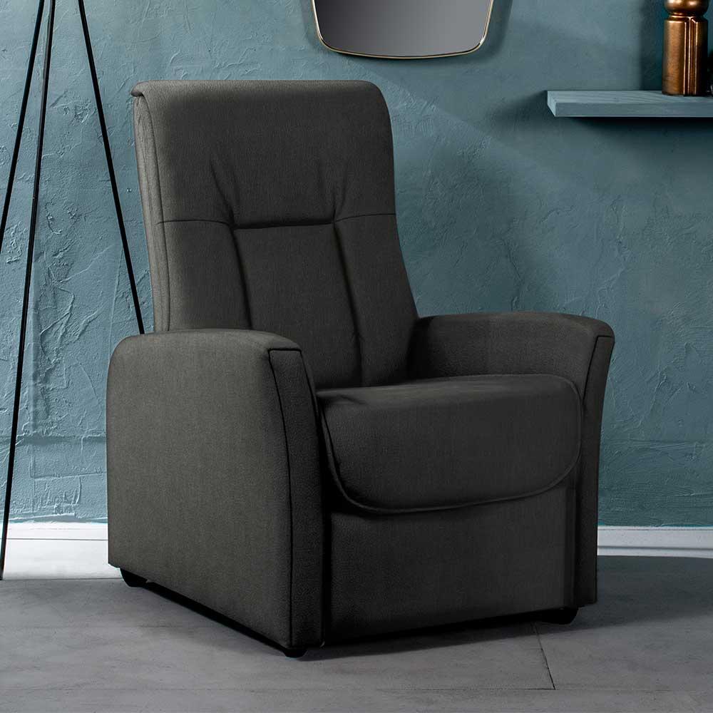 Dunkelgrauer TV Sessel mit Armlehnen Rücken verstellbar
