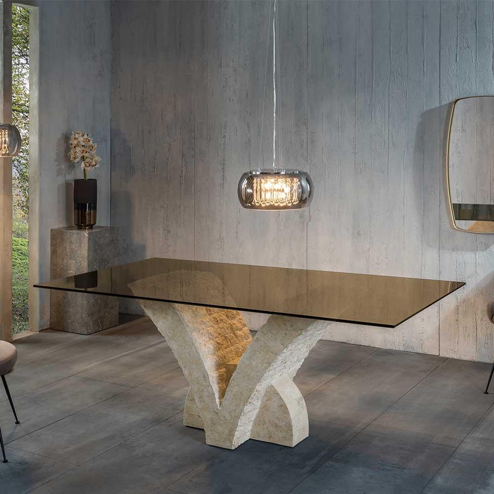 Design Esstisch in Bronze und Beige Glasplatte