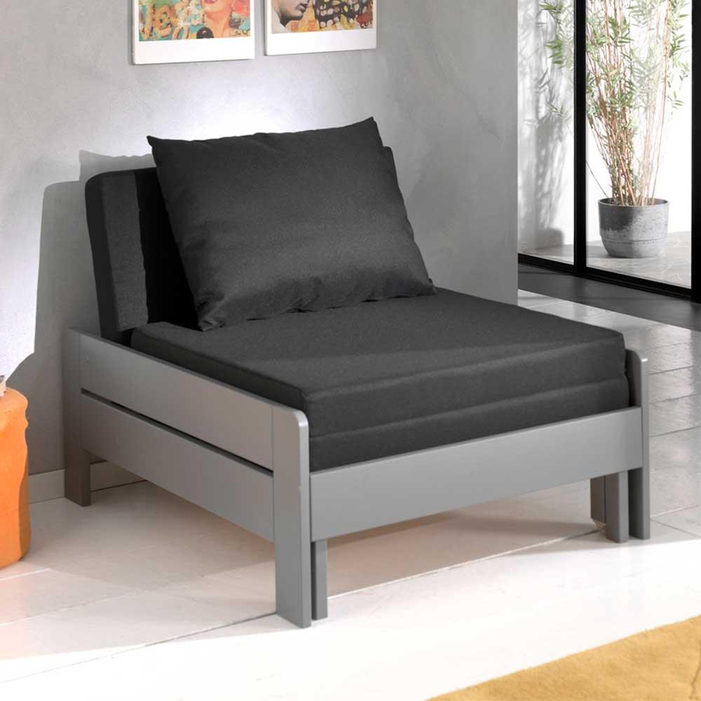 Schlafsessel in Grau und Schwarz Kiefer Massivholz