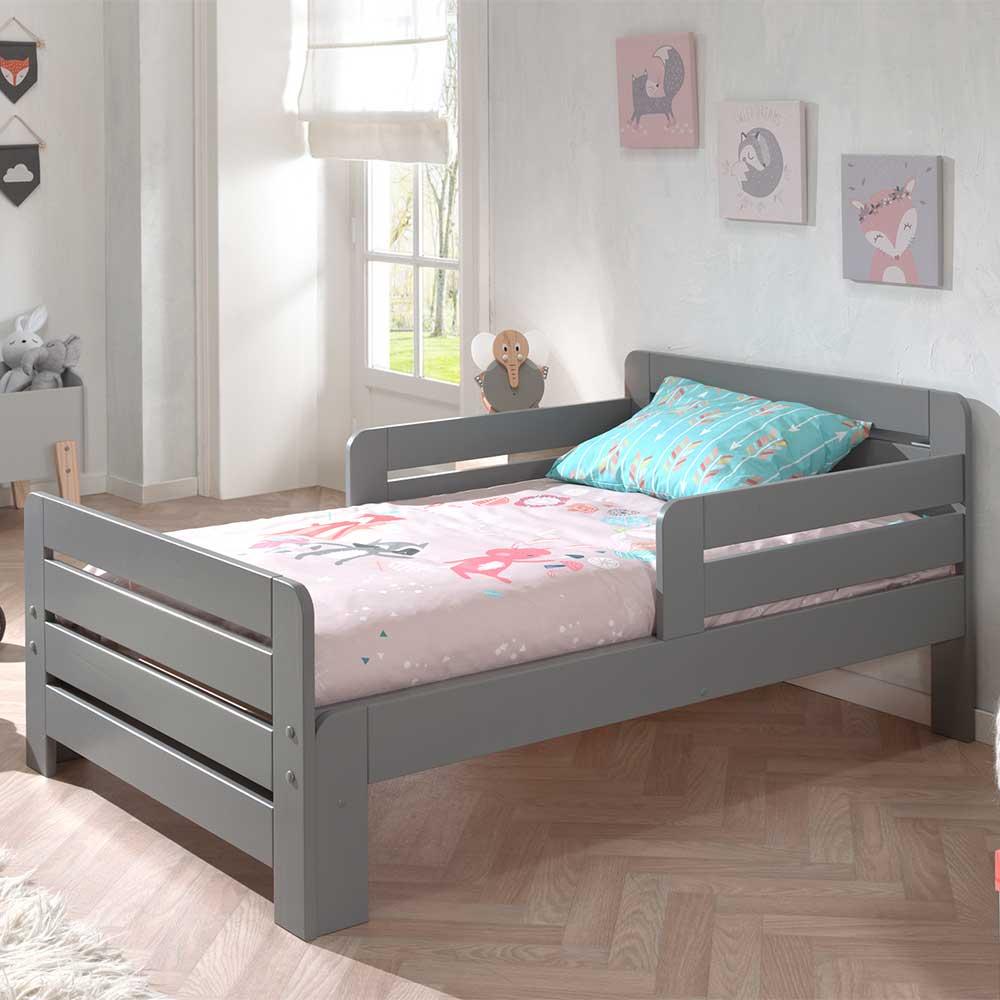 Kinder Einzelbett aus Kiefer Massivholz Grau