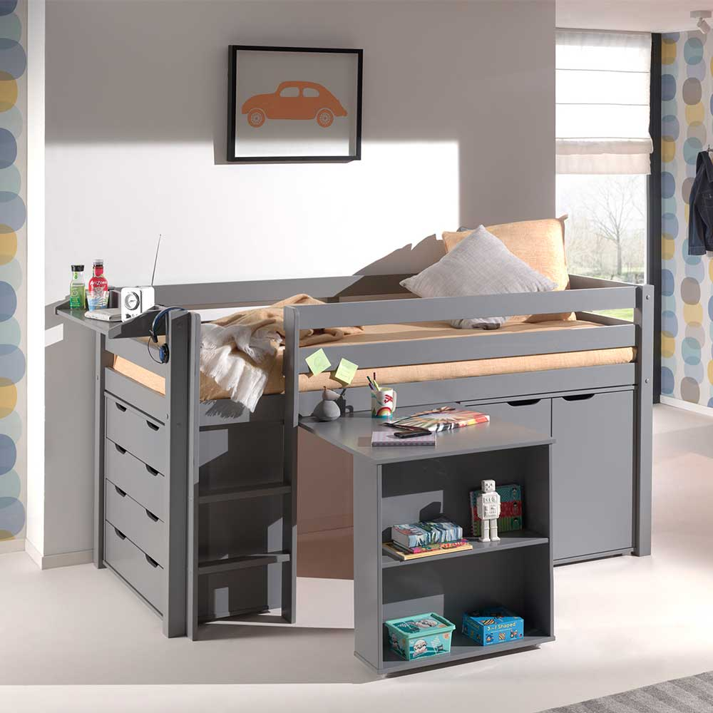 Kinderhochbett mit Schreibtisch Kommode Schrank Hängeregal Grau