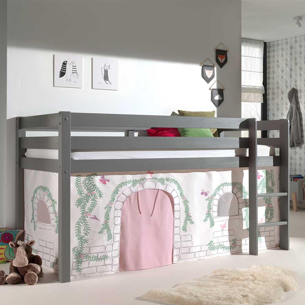 Kinder Einzelbett in Grau und Rosa Schmetterling Motiv