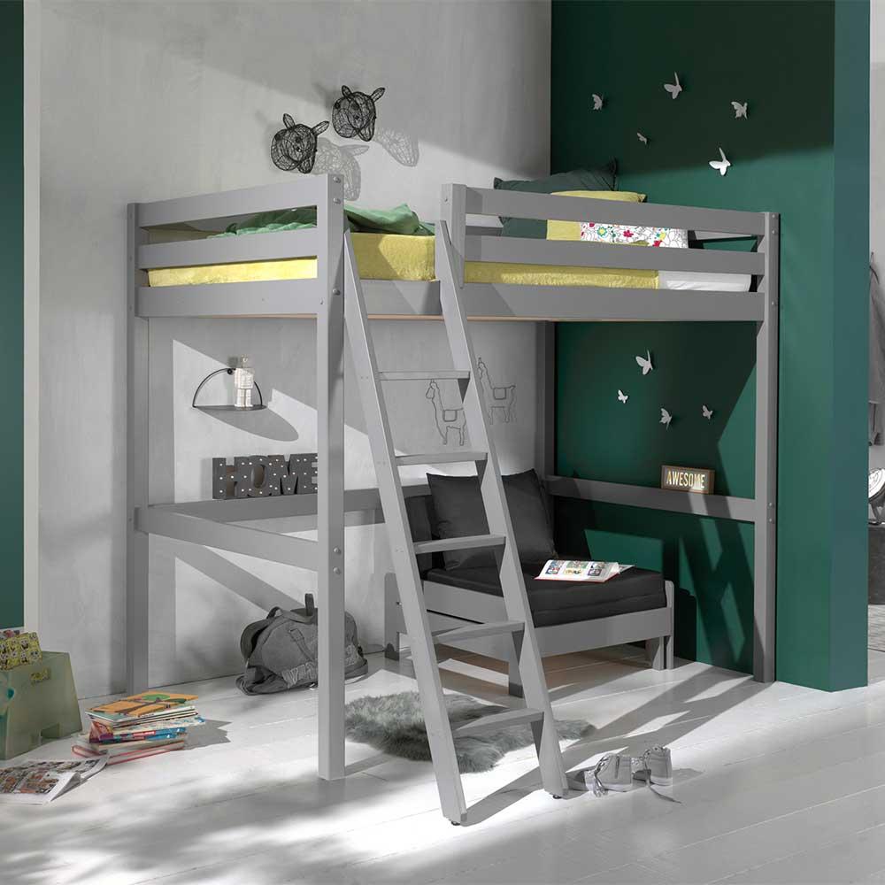 Kinderzimmermöbel aus Kiefer Massivholz Grau Sessel (zweiteilig)