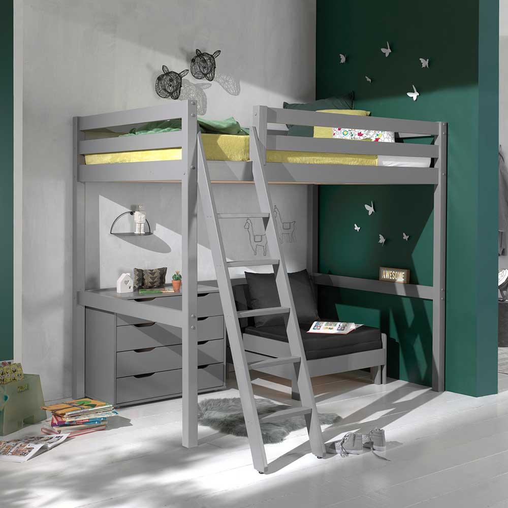 Kinderzimmer Set aus Kiefer Massivholz Grau Sessel und Kommode (dreiteilig)