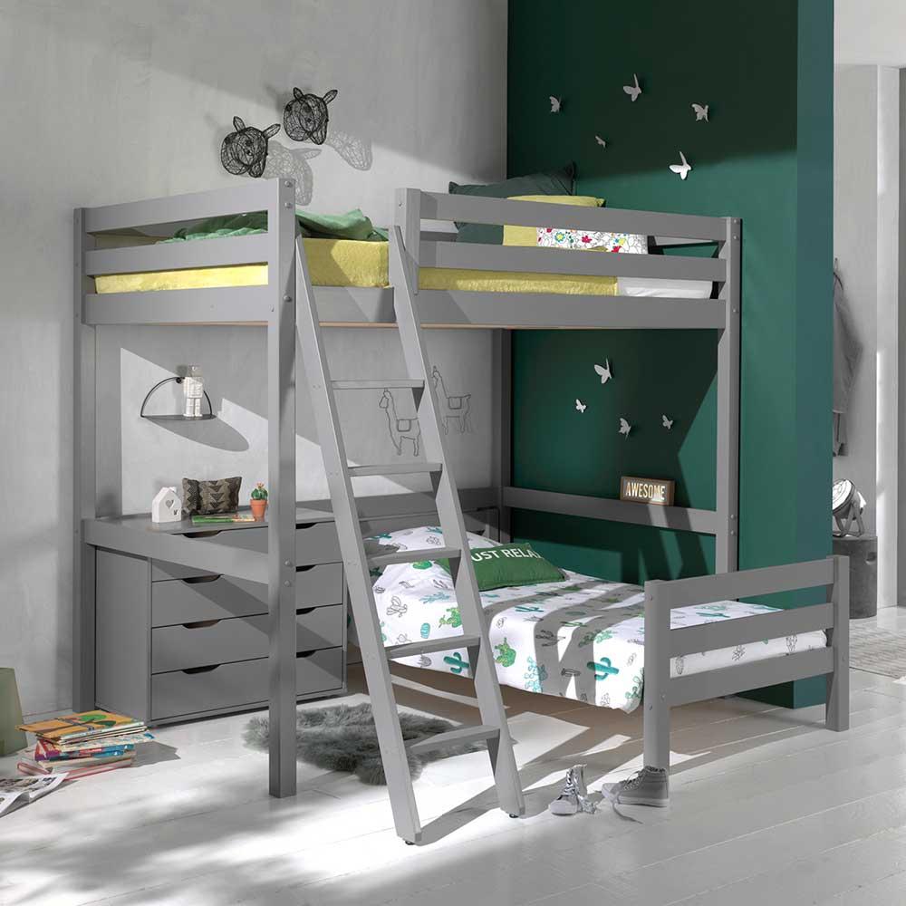 Kinderstockbett aus Kiefer Massivholz Grau Kommode