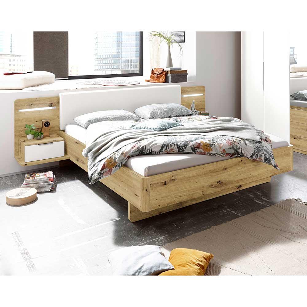 Doppelbett mit Konsolen in Asteichefarben und Weiß LED Beleuchtung (dreiteilig)