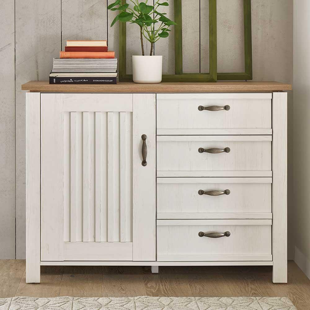 Sideboard in Weiß und Eichefarben vier Schubladen