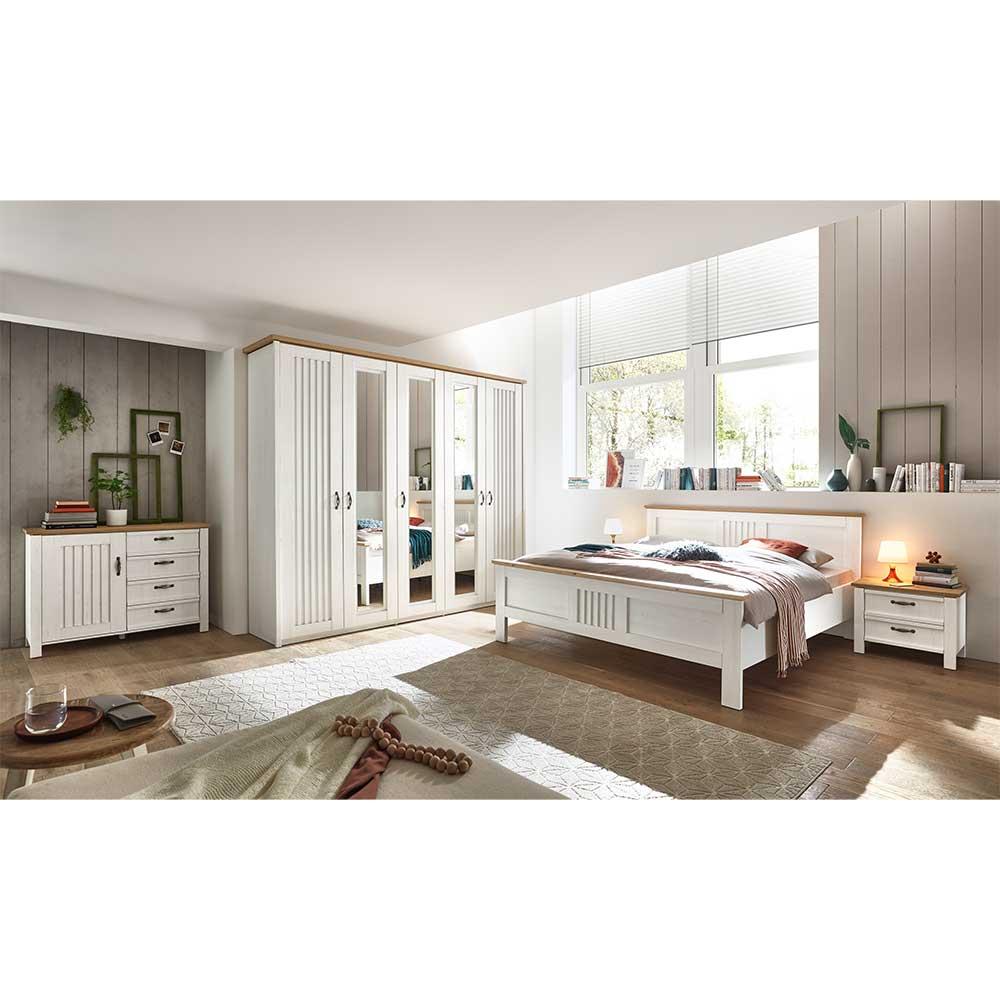 Komplettschlafzimmer in Weiß und Eichefarben Landhausstil (fünfteilig)