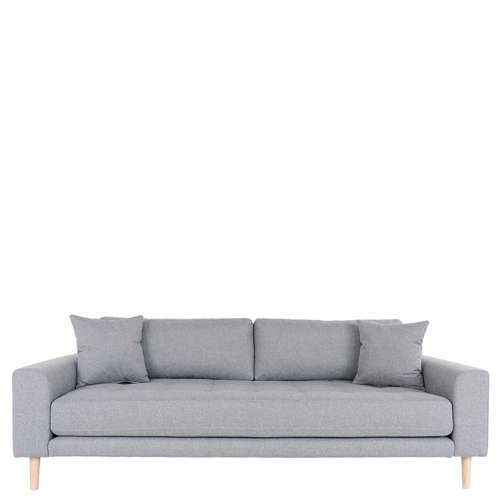 Hellgraues Dreisitzer Sofa im Skandi Design 210 cm breit
