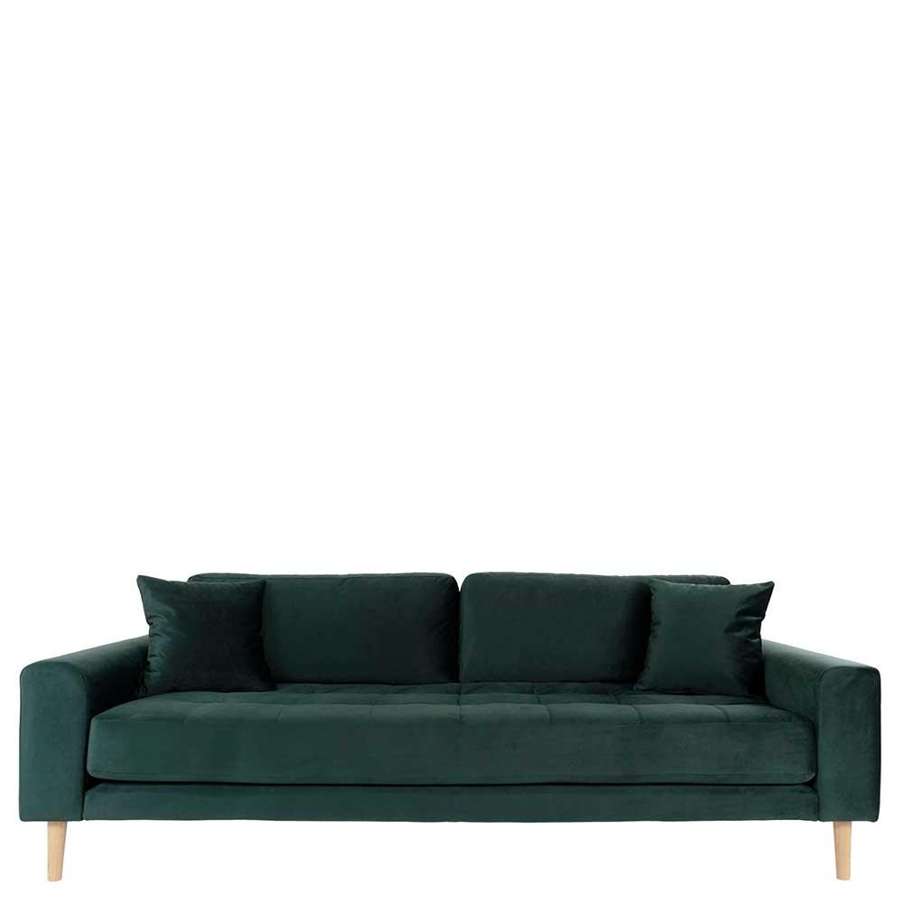 Dreisitzer Sofa in Dunkelgrün Eichefarben