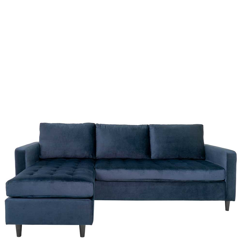Dunkelblaues Ecksofa mit drei Sitzplätzen Armlehnen