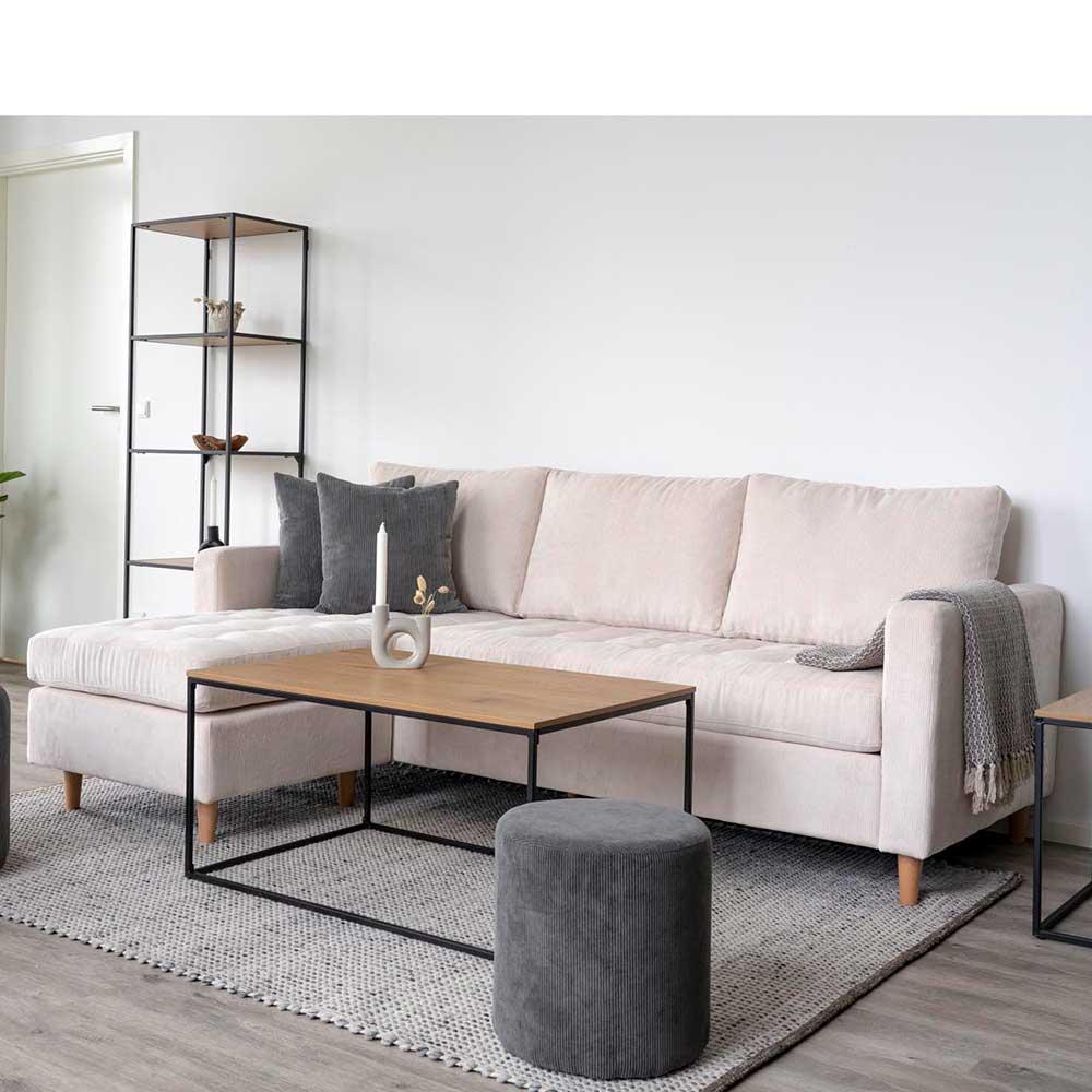 Ecksofa aus Cordstoff und Massivholz Skandi Design