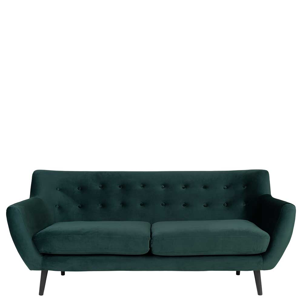 Dreisitzer Sofa in Dunkelgrün Samt und Massivholz