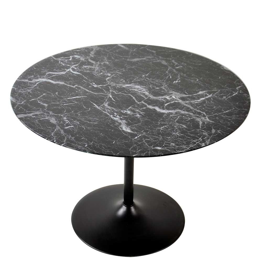 Esstisch in Schwarz marmoriert rund
