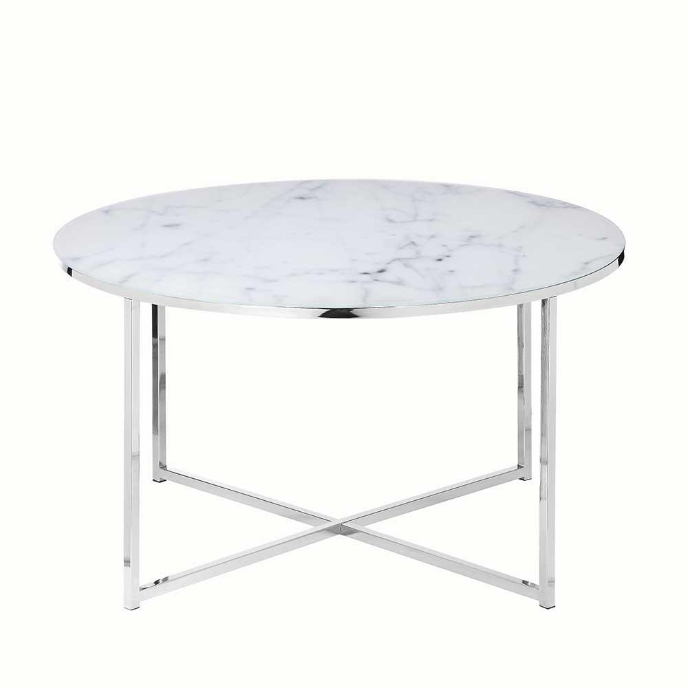 Design Couchtisch in Weiß und Chromfarben runder Tischplatte