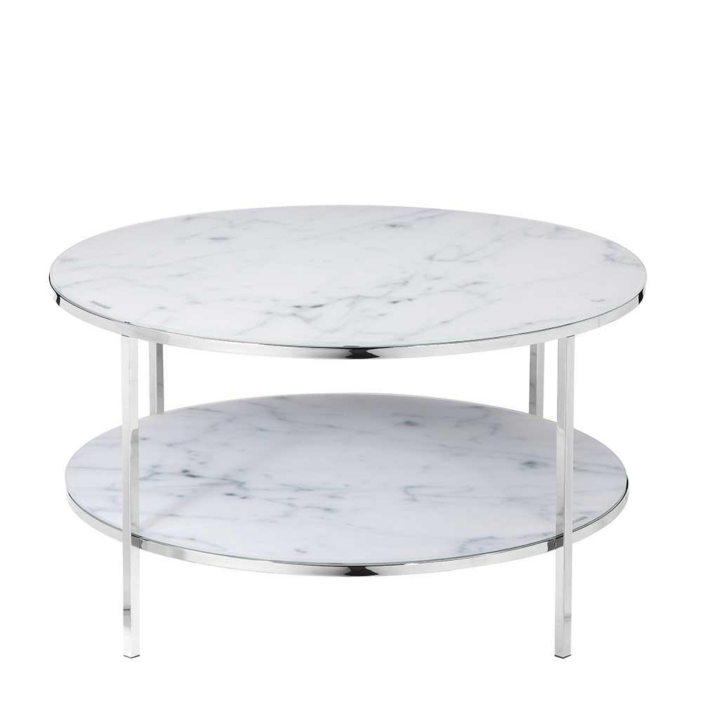 Couchtisch in Weiß Marmoroptik runde Glasplatten