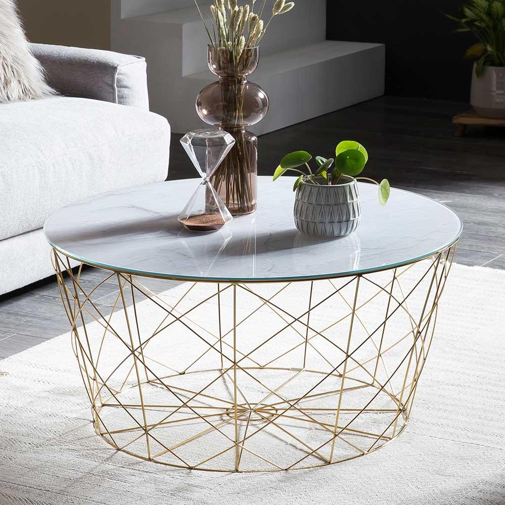 Runder Couchtisch in Weiß und Goldfarben Skandi Design