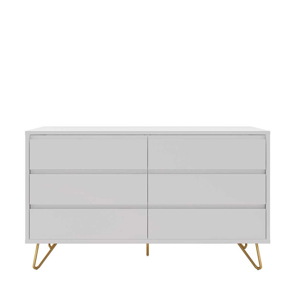 Skandi Sideboard in Weiß und Goldfarben Vierfußgestell aus Metall