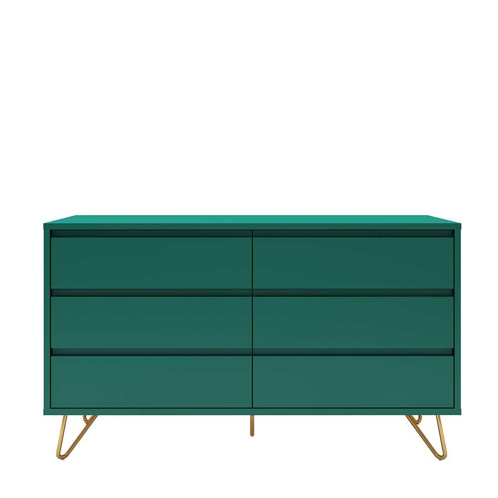 Design Sideboard in Grün und Goldfarben Vierfußgestell aus Metall