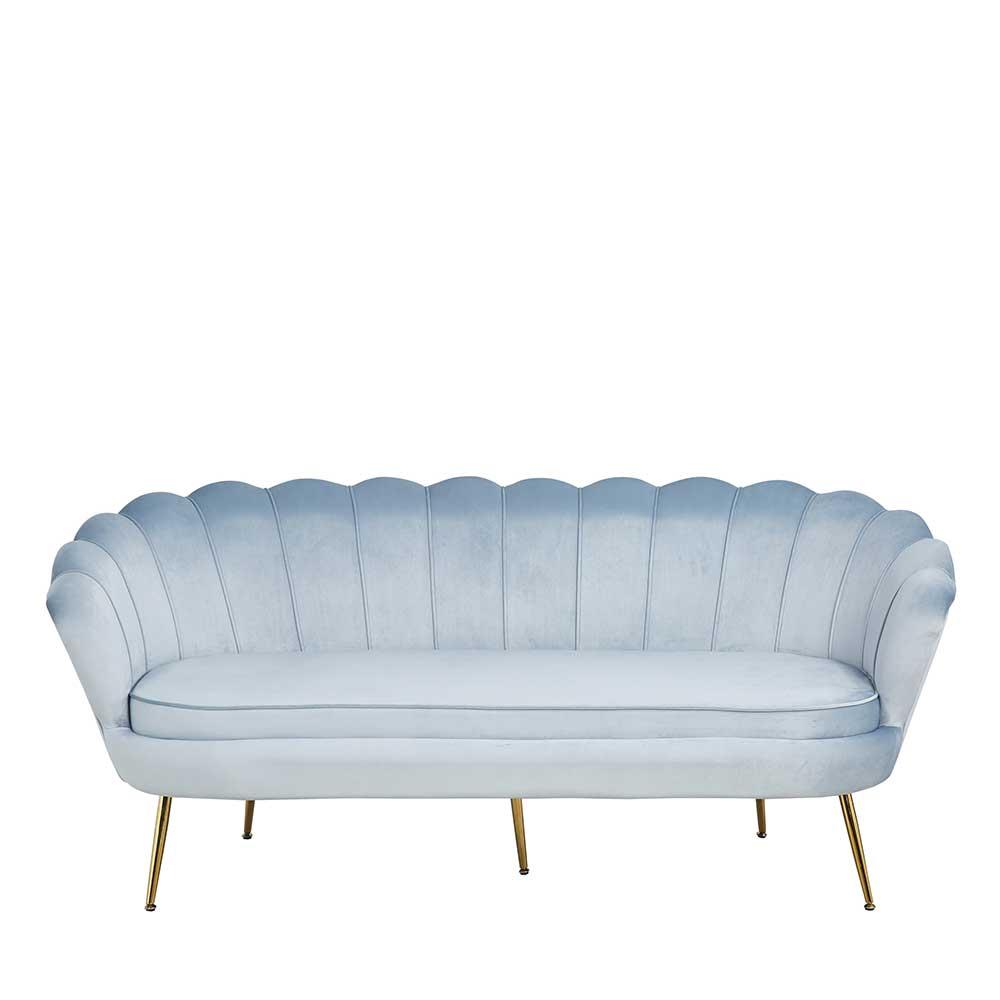 Samt Dreisitzer Sofa in Hellgrau und Gold in Muschelform