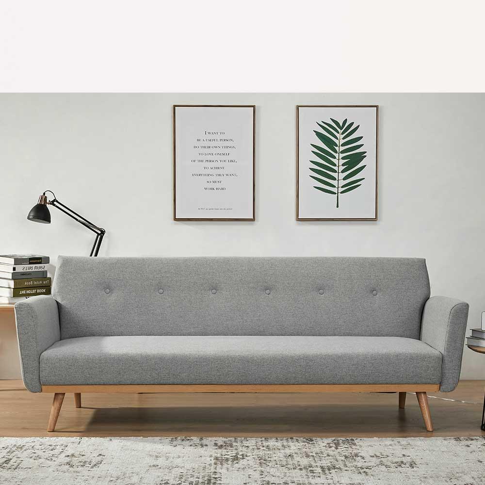 Funktions Sofa in Hellgrau und Holz Naturfarben Rücken Klappmechanik