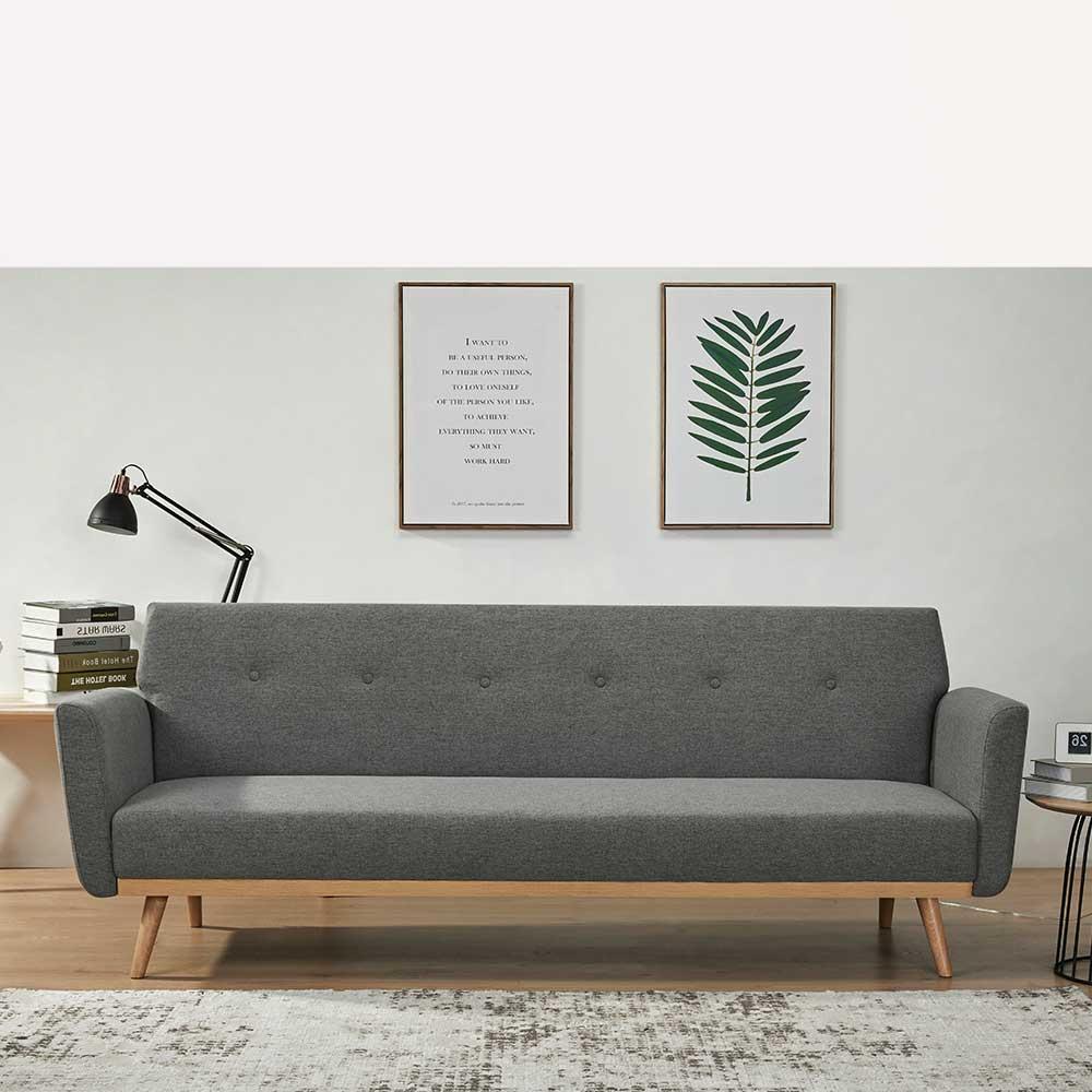 Dreisitzer Sofa in Dunkelgrau und Holz Naturfarben Rücken Klappmechanik