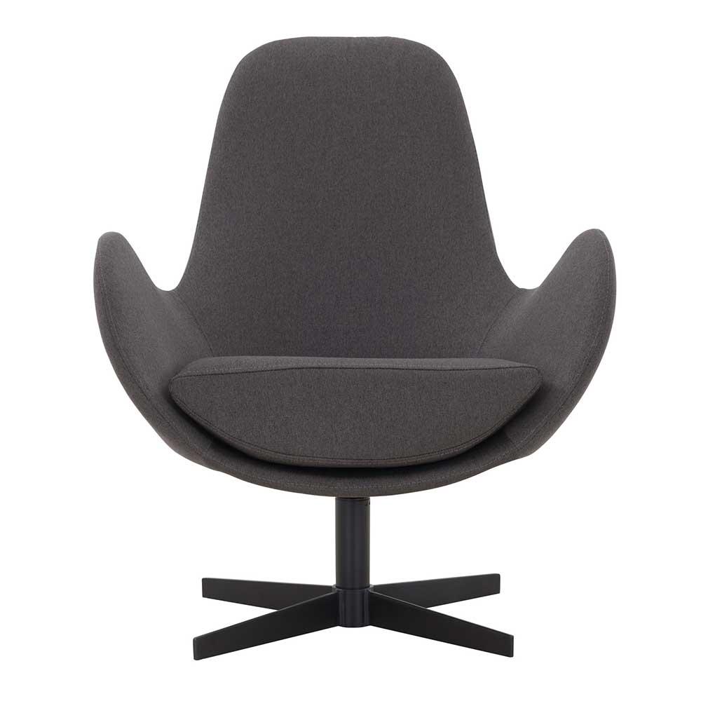 Wohnzimmer Sessel in Dunkelgrau und Schwarz Sterngestell