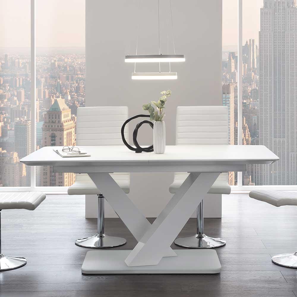Premium Esstisch in Weiß Glasplatte