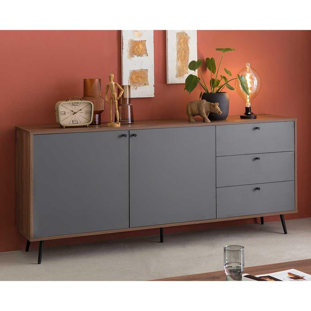 Wohnzimmer Sideboard in Walnussfarben und Grau Vierfußgestell
