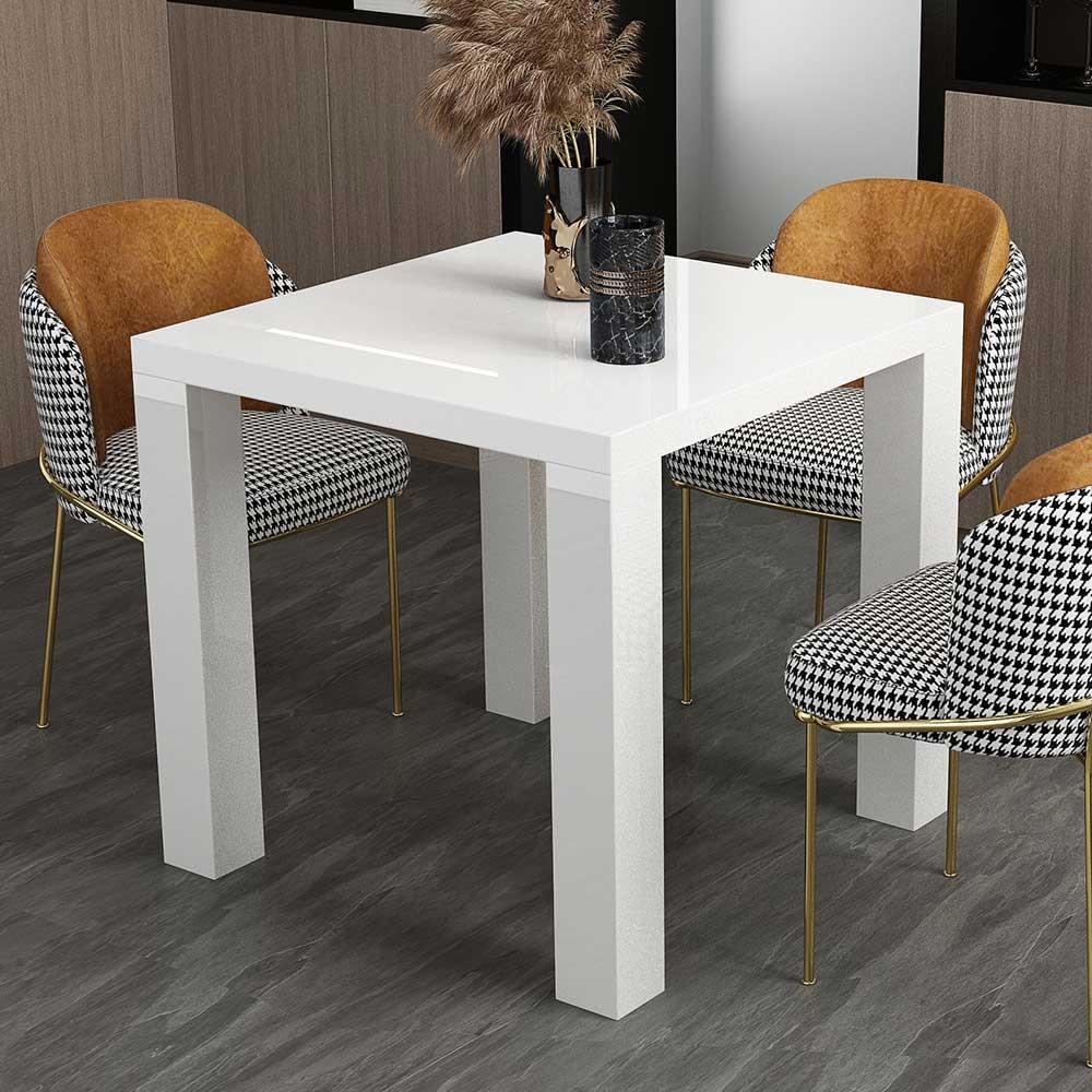 Hochglanz Esstisch mit quadratischer Tischplatte Weiß