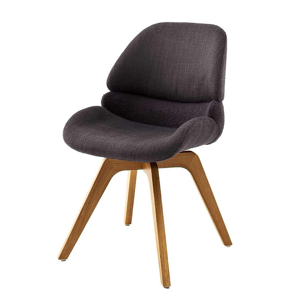Esstisch Stühle in Anthrazit und Eichefarben aufwendigen Steppungen (2er Set)