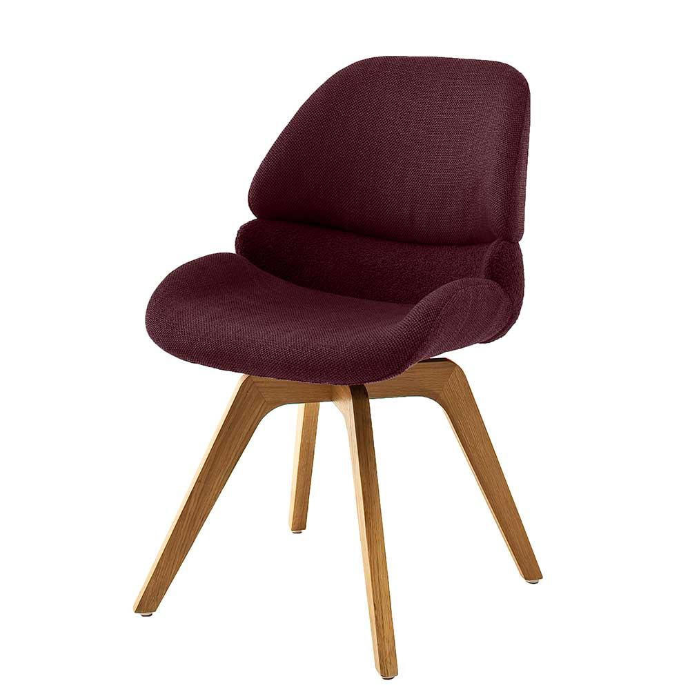 Esstisch Stühle in Dunkelrot und Eichefarben drehbar (2er Set)