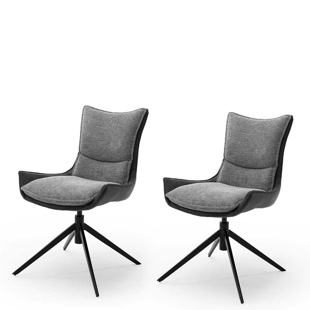 Esstisch Stühle in Anthrazit und Schwarz drehbar (2er Set)