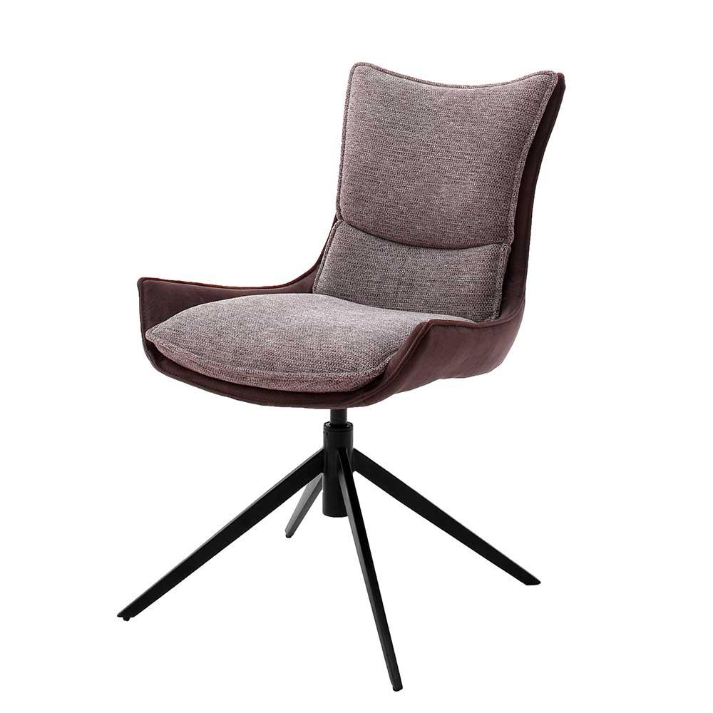 Esstisch Stühle in Rostfarben und Schwarz drehbar (2er Set)