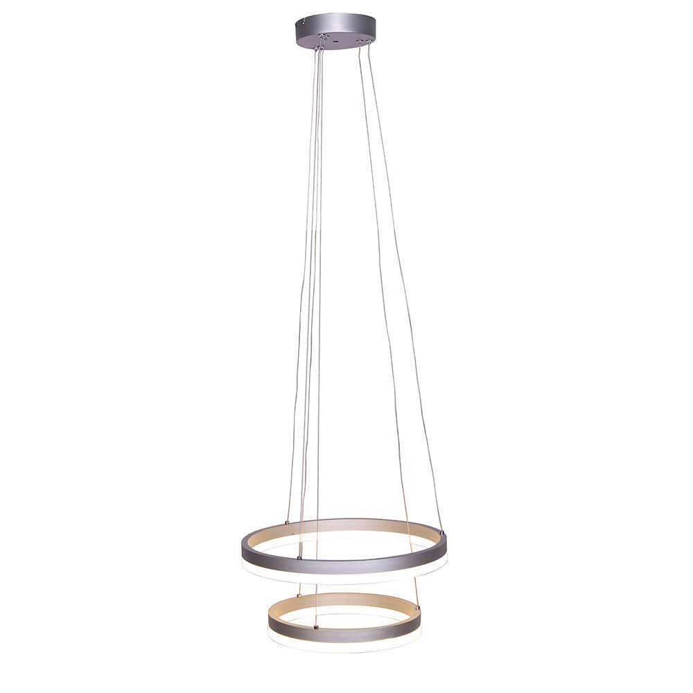 Design Hängeleuchte aus Acrylglas und Metall Chromfarben