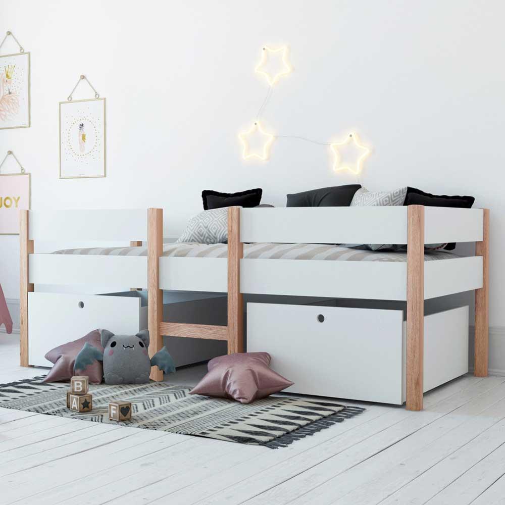 Kinder Einzelbett in Weiß und Pinie Bettkasten