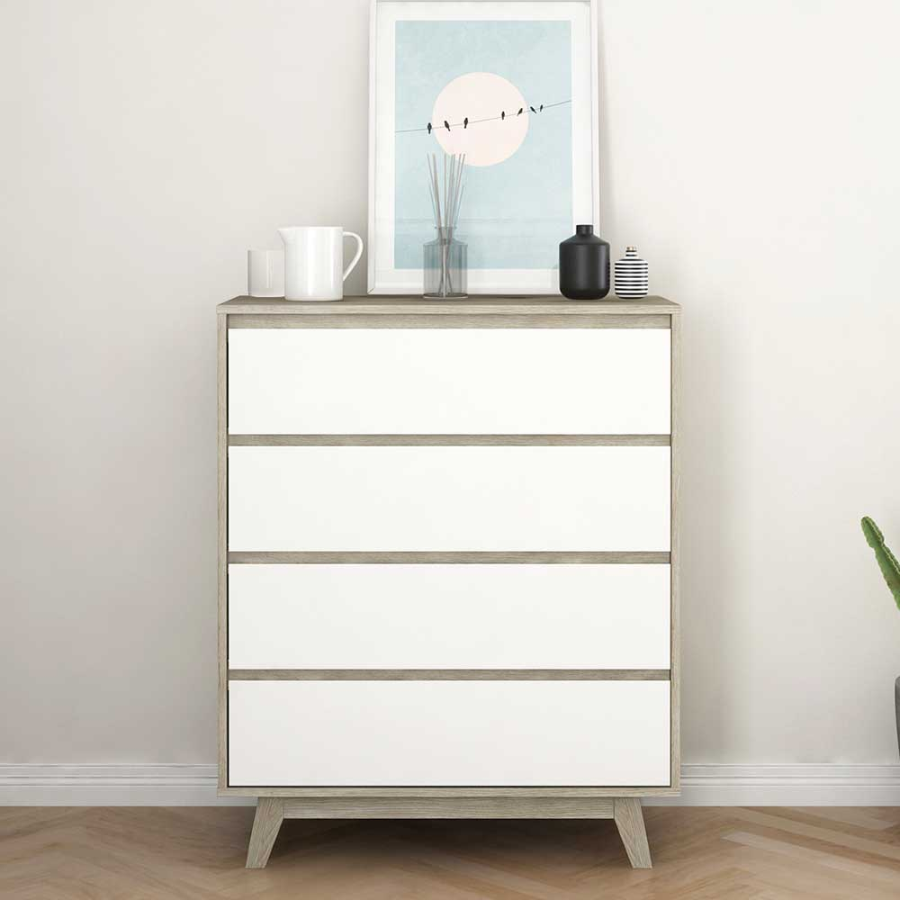 Schubkastenkommode in Weiß und Naturfarben 80 cm breit