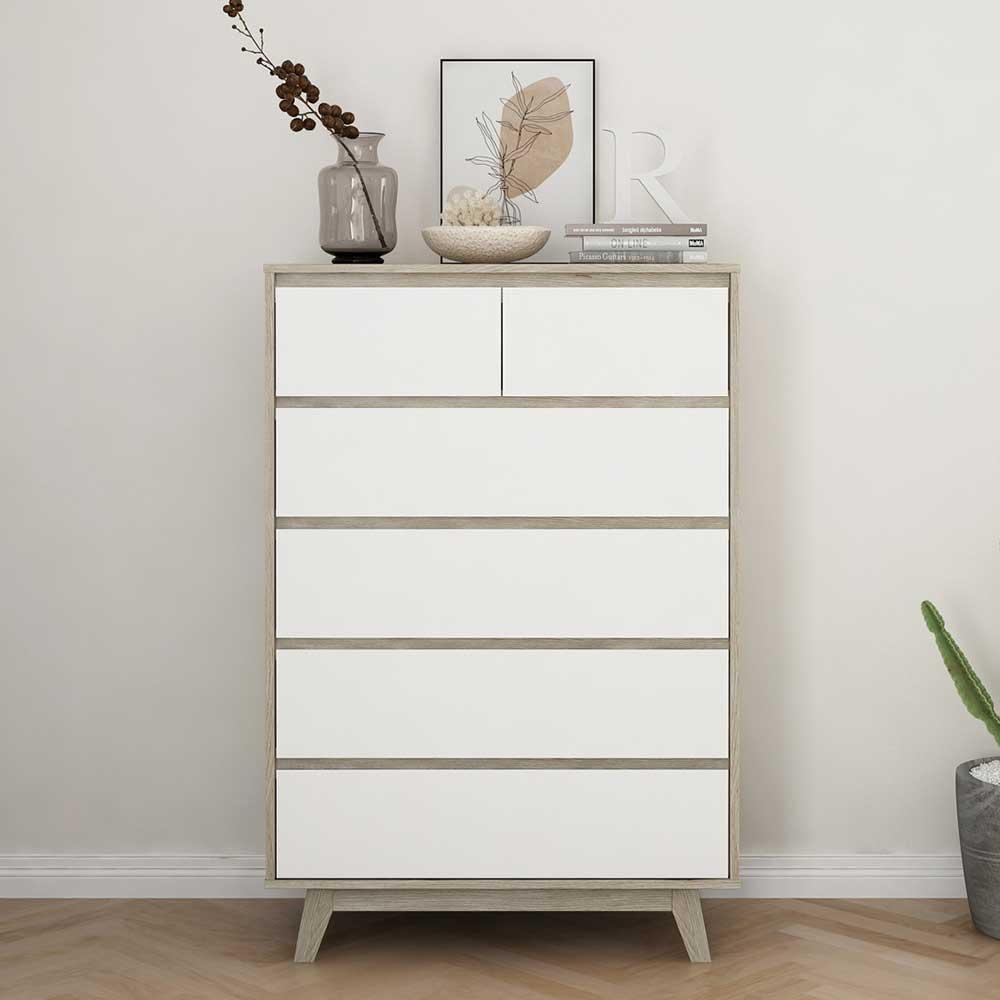 Kommode in Weiß und Naturfarben sechs Schubladen