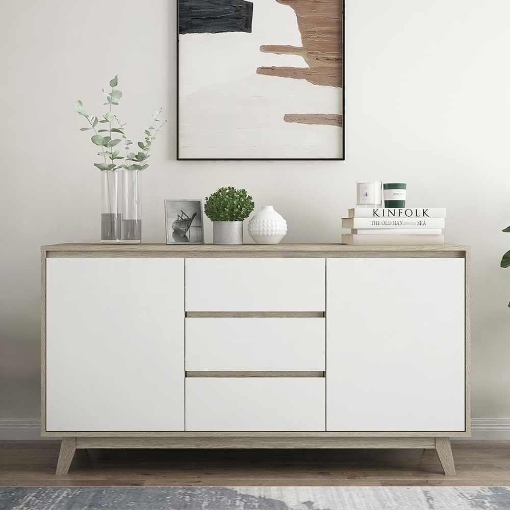 Wohnzimmer Kommode in Weiß und Naturfarben 140 cm breit