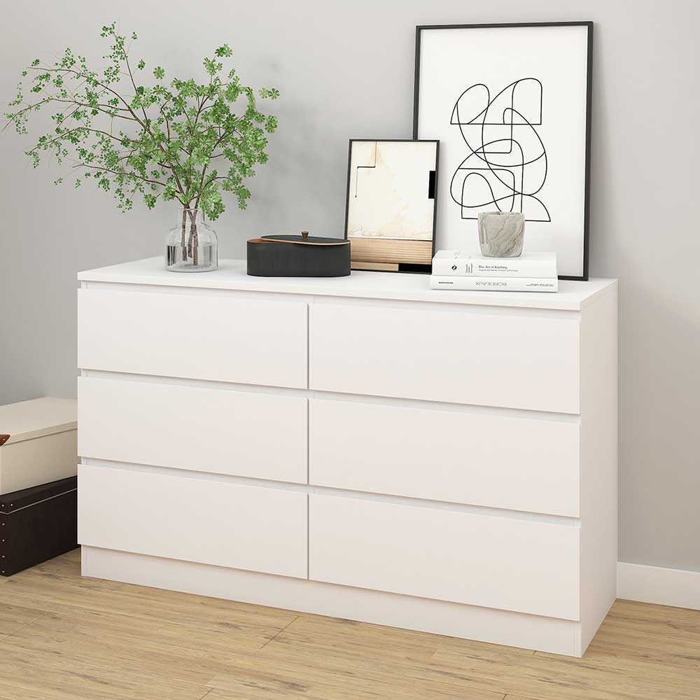 Sideboard in Weiß sechs Schubladen